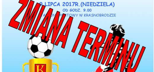 Plakat Turniej piłki nożnej zmiana terminu